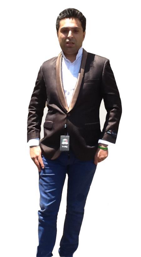 1Button Coat/Dinner Jacket Blazer Shawl Collar Tuxedo Brown and Coffee