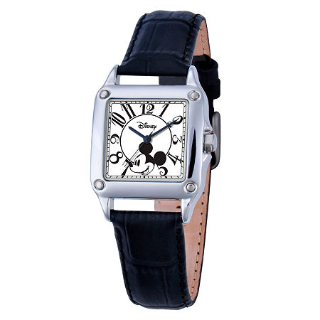 Disney Set With Swarovski Crystals Mickey Mouse Womens Black Leather Strap Watch-W000464, One Size , No Color Family