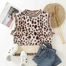 Pulloverweste mit Grafik & Streifen Muster