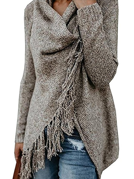 Yoins Khaki Tassel Details Long Sleeves Knit Sweater