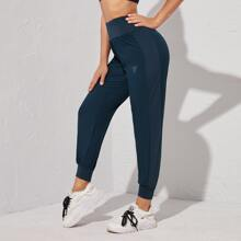 Wide Waistband Letter Graphic Sports Pants