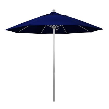 ALTO908002-5499 9 Venture Series Commercial Patio Umbrella With Silver Anodized Aluminum Pole Fiberglass Ribs Push Lift With Sunbrella 1A True Blue