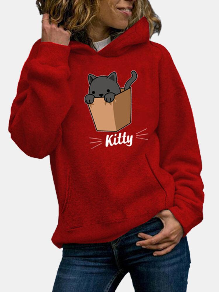 Kitty Cat Print Long Sleeve Casual Plus Size Hoodie