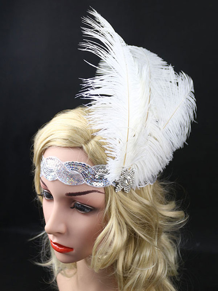 Milanoo Flapper Headband The Great Gatsby 1920s Costume White Feather Headpieces Women Vintage Costume Accessories Halloween