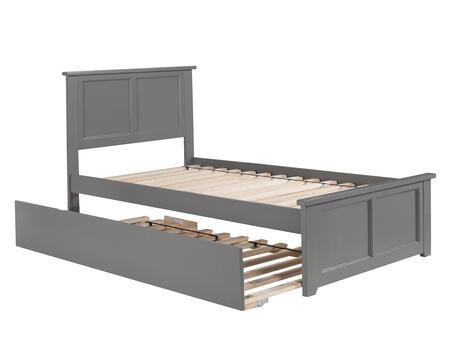 Madison AR8626019 Twin Platform Bed with Matching Foot Board and Twin Size Urban Trundle Bed in Atlantic