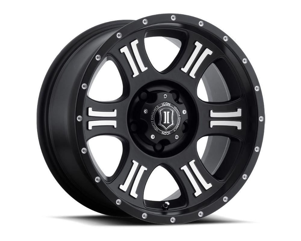 Icon Alloys 1020905556MB Shield Wheels 20x9 5x150 16mm Black w/ Machined Logo