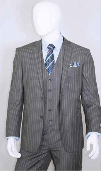 Men's Bold Chalk White Stripe 2 Buttons Vest 3 Pieces Medium Grey