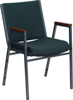 Hercules Collection XU-60154-GN-GGHERCULES Stack Chair with Cherry Capped Arms  Contoured Cushions  Silver Vein Powder Coated Tubular Steel Frame and