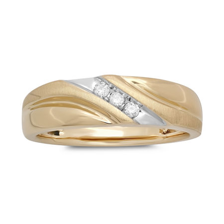 Mens 1/10 CT. T.W. Diamond 10K Yellow Gold 3-Stone Slant Ring, 11 1/2 , No Color Family