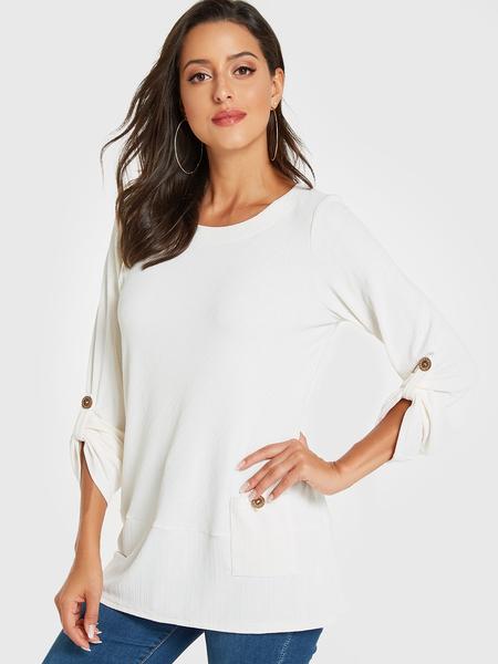 YOINS White Pocket Design Long Sleeves Tee