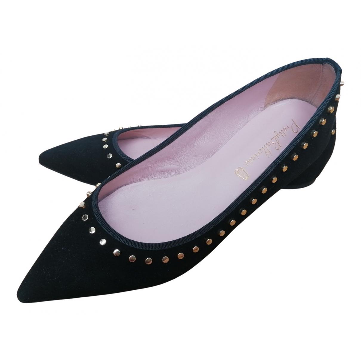 Pretty Ballerinas \N Black Suede Ballet flats for Women 40 EU
