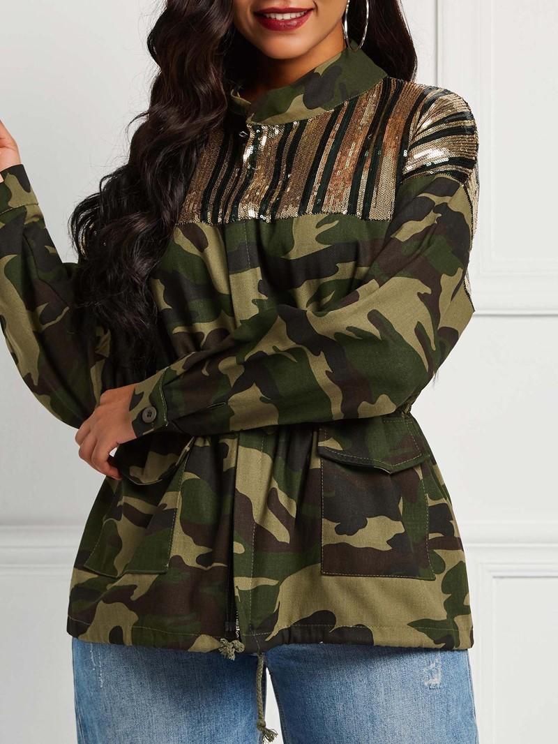 Ericdress Zipper Long Sleeve Loose Mid-Length Fall Jacket