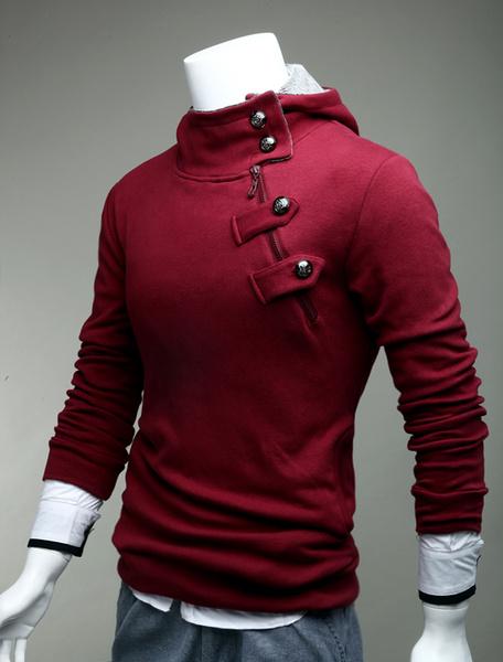Milanoo Sudadera con capucha negra con capucha de algodon para hombre Sudadera con capucha con capucha de manga larga con capucha negra para hombre