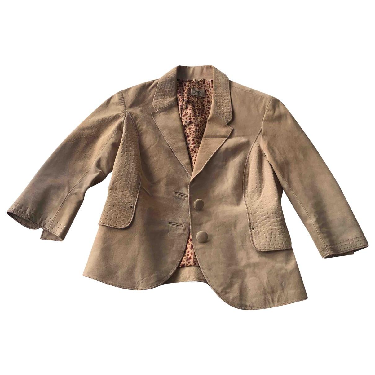 June 7.2 - Veste   pour femme en cuir - beige