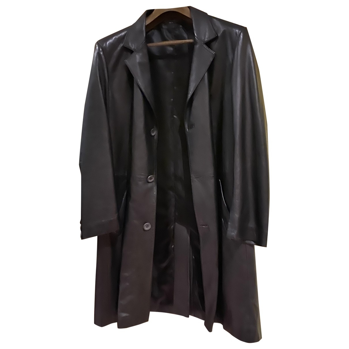 Non Signé / Unsigned \N Black Leather coat  for Men 50 IT