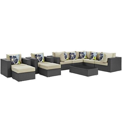 Sojourn Collection EEI-2383-CHC-BEI-SET 10-Piece Outdoor Patio Sunbrella Sectional Set with Coffee Table  3 Armless Chairs  2 Armchairs  2 Corner