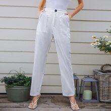 Patch Pocket Button Waist Pants