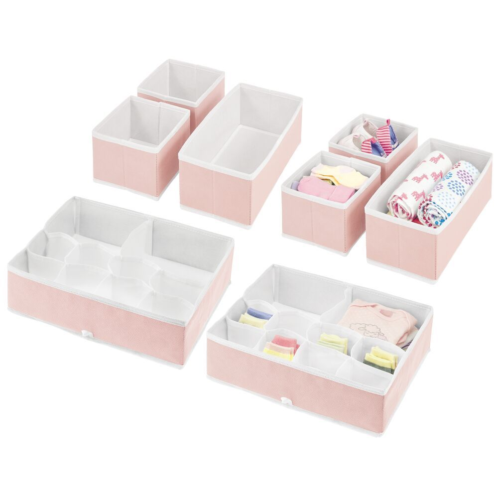 Multi-Compartment Fabric Drawer Organizers – Set of in Pink/White, by mDesign