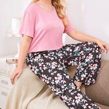 Einfarbiger Schlafanzug Set mit V Kragen & Blumen Muster