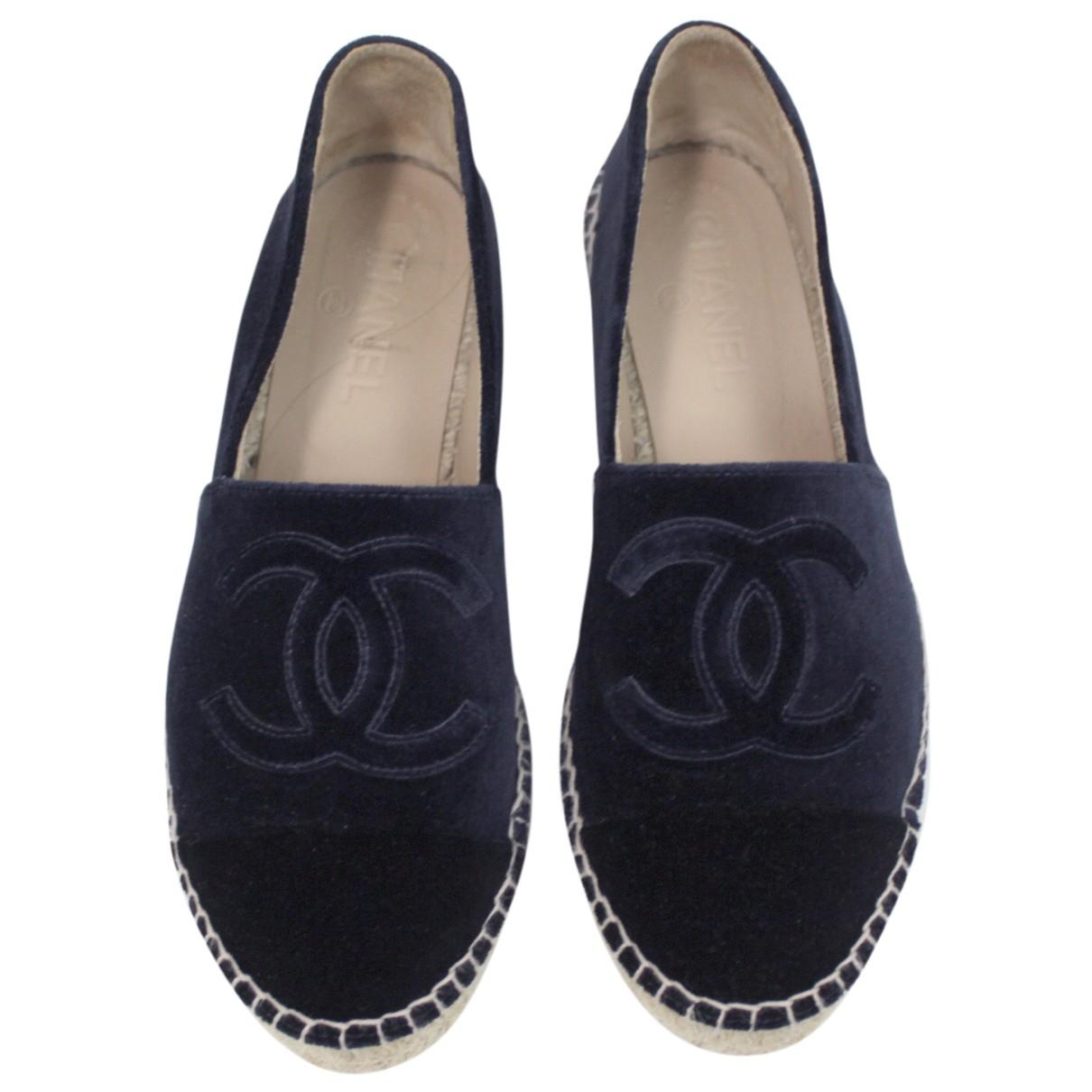 Chanel - Espadrilles   pour femme en velours - marine