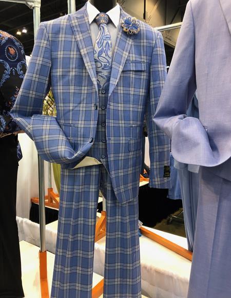 Mens Vintage Plaid ~ Windowpane Vested Suit 3 Pieces Regular Fit Blue