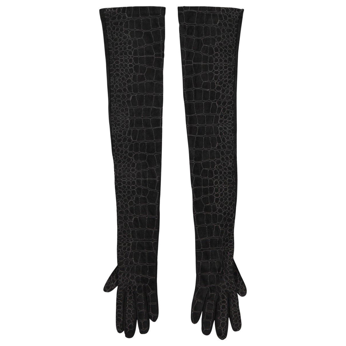 Yves Saint Laurent \N Black Suede Gloves for Women 7 Inches