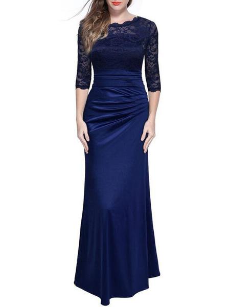 Milanoo Vestido largo Azul marino oscuro Moda Mujer con 1/2 manga de poliester Vestidos de encaje Color liso con pliegue con escote redondo estilo m