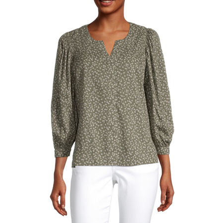 a.n.a Womens Split Crew Neck 3/4 Sleeve Blouse, X-small , Green