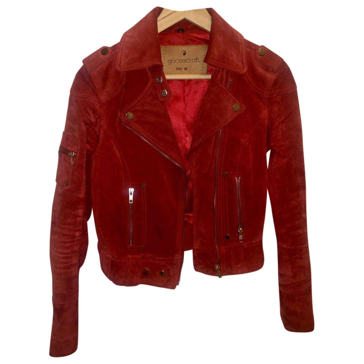 Goosecraft - Veste   pour femme en suede - rouge