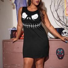 Ärmelloses Nachtkleid mit Halloween Muster