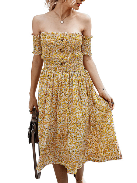 Milanoo Skater Dresses Ditsy Floral Print Cotton Sexy Short Sleeves Summer Dress