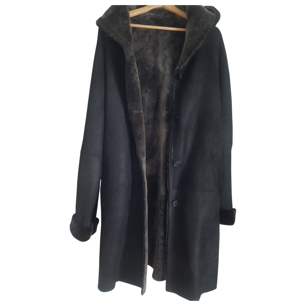 Non Signé / Unsigned \N Grey Leather coat for Women 42 FR