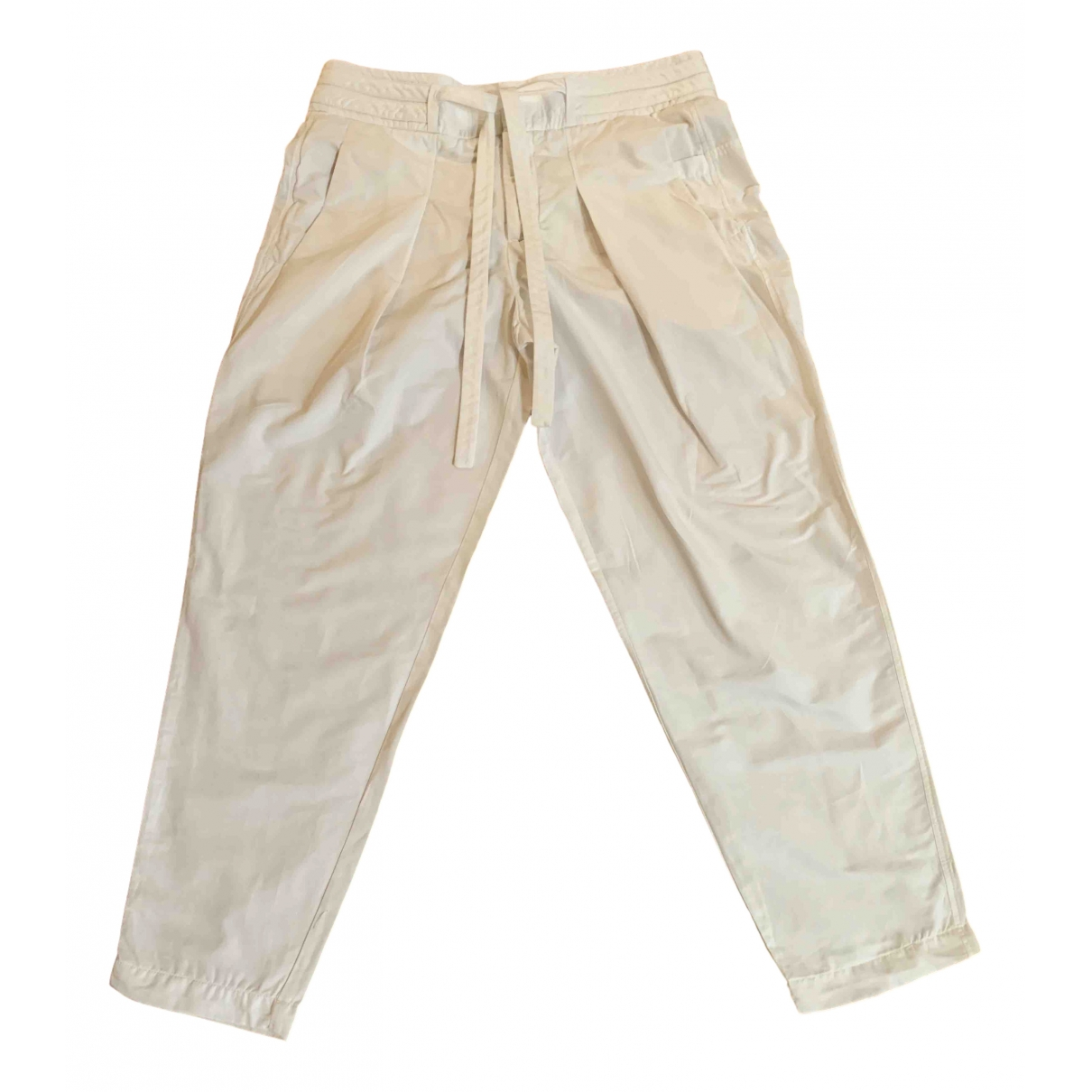 Helmut Lang \N White Cotton Trousers for Women 6 US