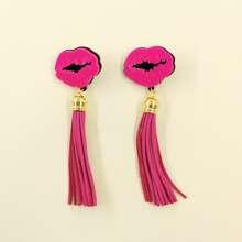 Mouth Decor Tassel Drop Earrings