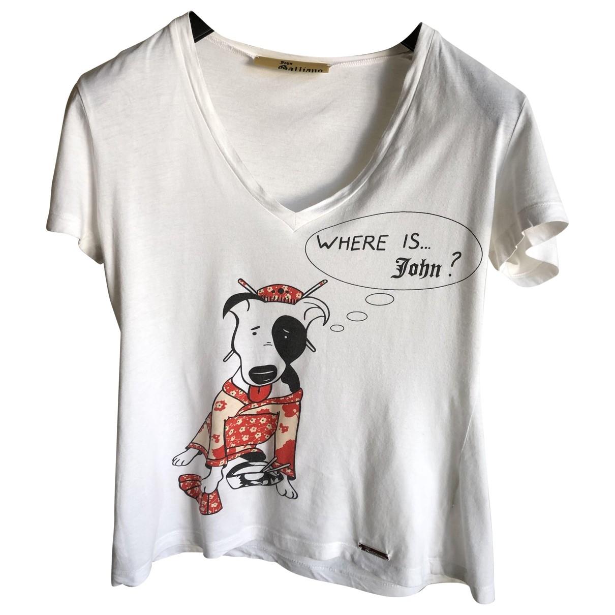 John Galliano - Top   pour femme en coton - blanc