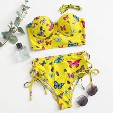 Butterfly Print Push Up Tie Side Bikini Swimsuit