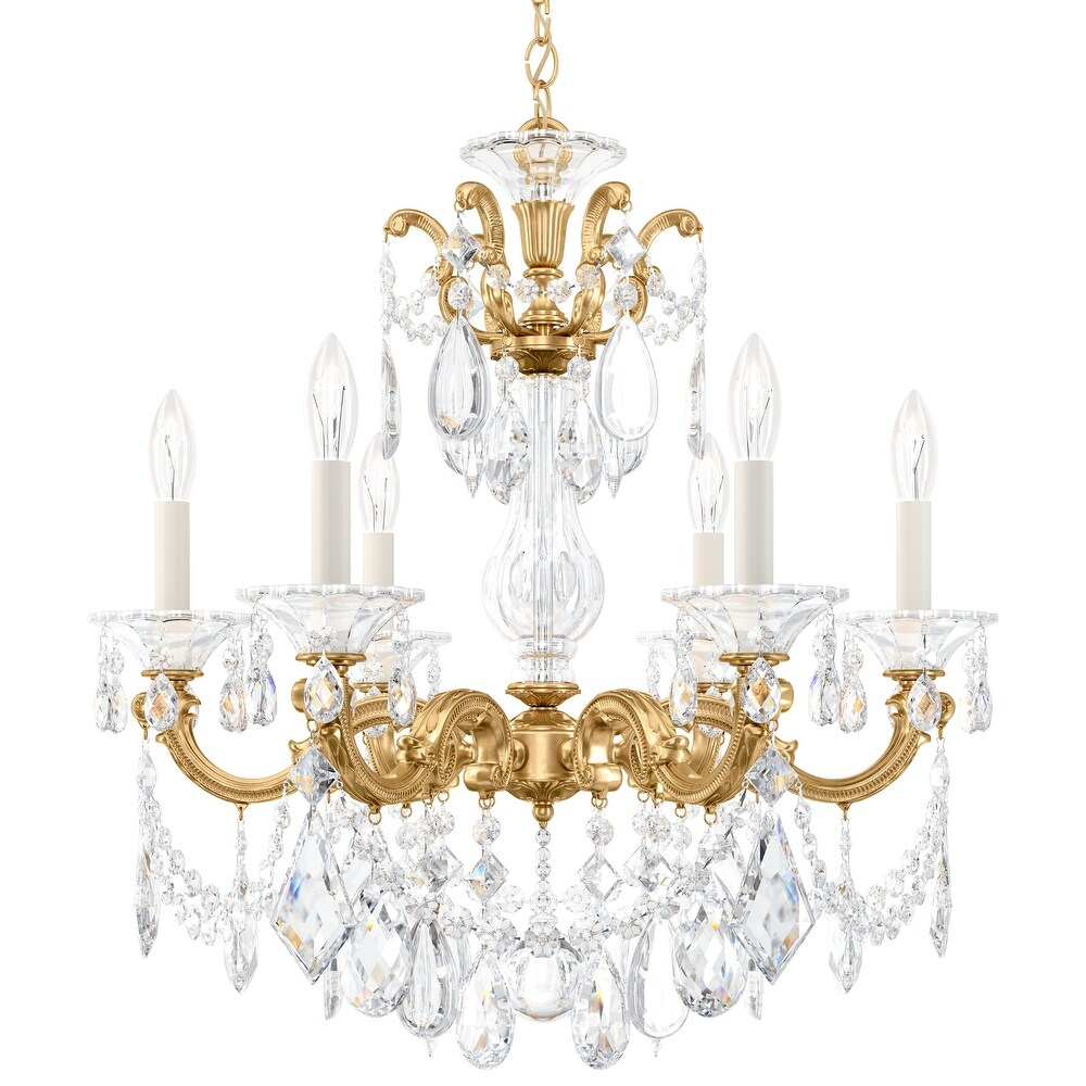 La Scala 6 Light Chandelier Heirloom Gold Clear Spectra Crystal - One Size (One Size - Clear)