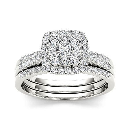 1/2 CT. T.W. Diamond 10K White Gold Bridal Set, 9 , No Color Family