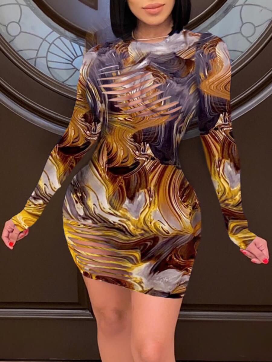 LW Lovely Sweet Print Hollow-out Yellow Mini Dress