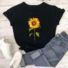 T-Shirt mit Sonnenblumen und Buchstaben Muster