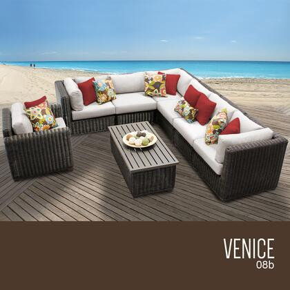 VENICE-08b-BEIGE Venice 8 Piece Outdoor Wicker Patio Furniture Set 08b with 2 Covers: Wheat and