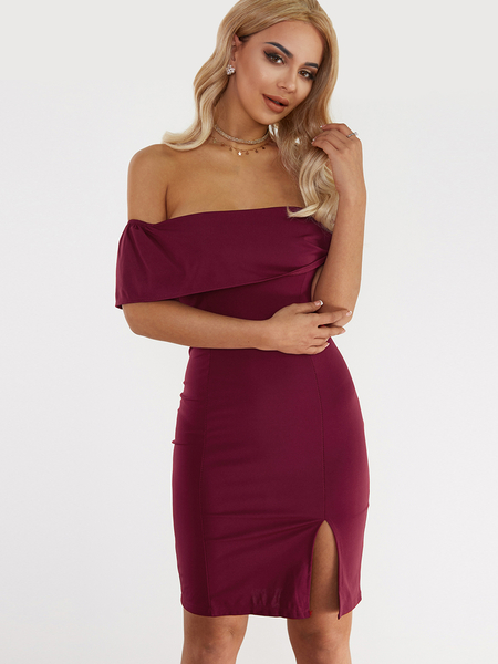 Yoins Red Off-shoulder Layered Split Body-con Midi Dress