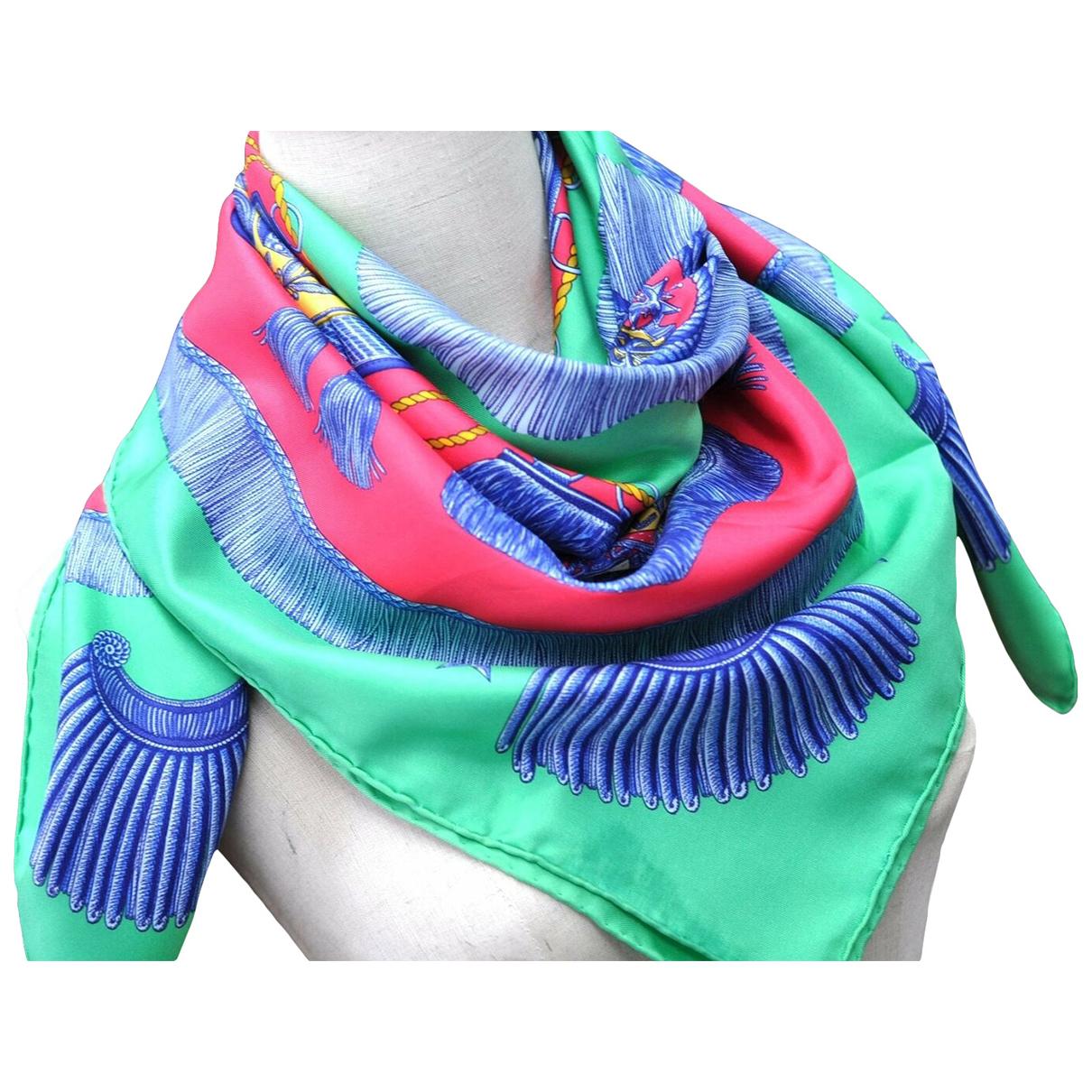 Hermes - Foulard   pour femme en soie - vert