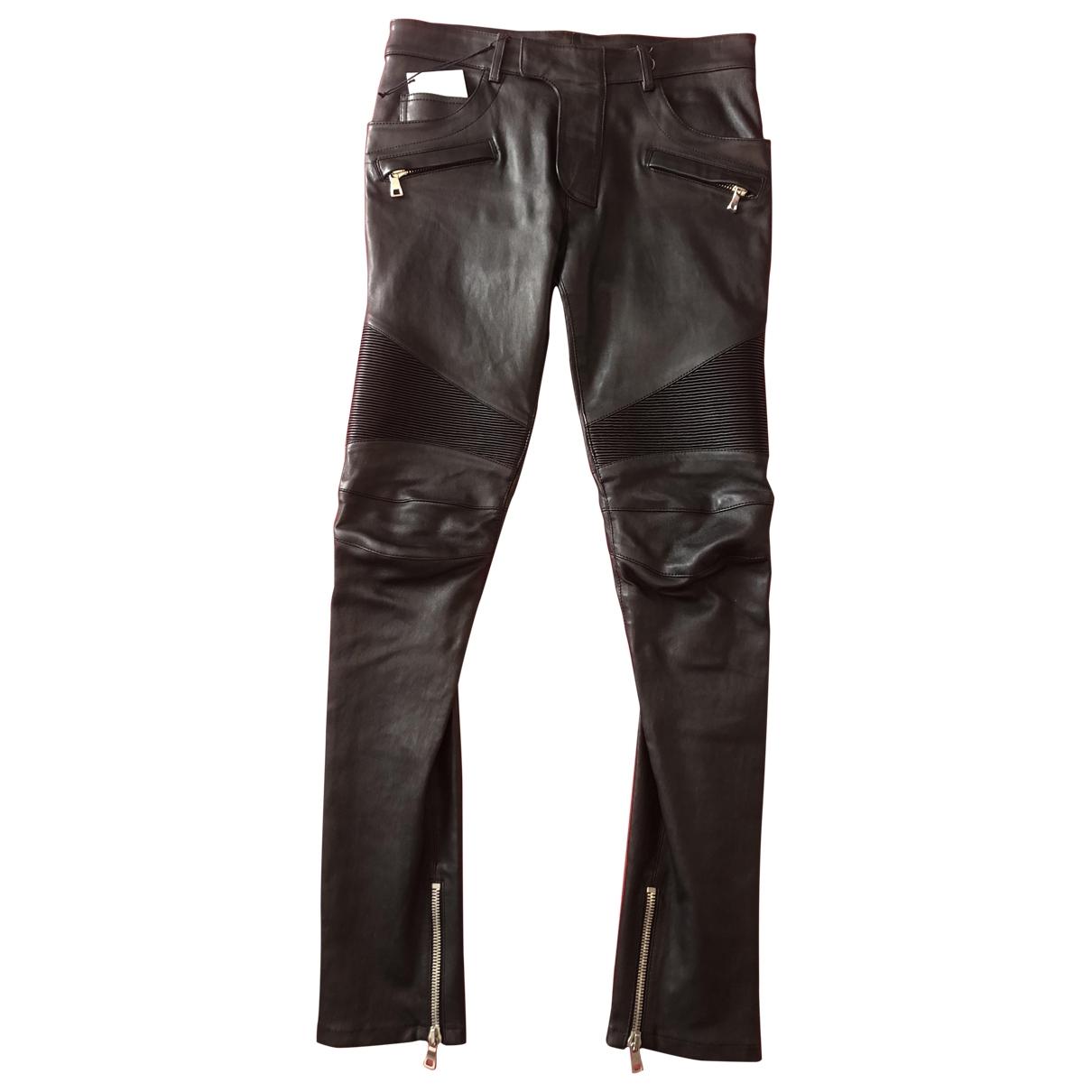 Balmain \N Black Leather Trousers for Men 46 FR