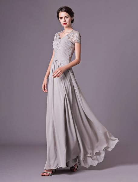 Milanoo Evening Dresses Silver Lace Short Sleeve Formal Gowns Chiffon Pleated Floor Length Mother Of Bride Dress
