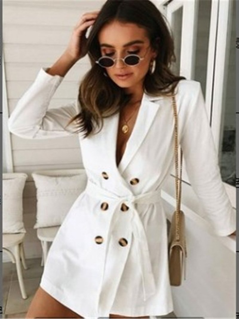 Ericdress Lace-Up Button Notched Lapel Long Sleeves Trench Coats