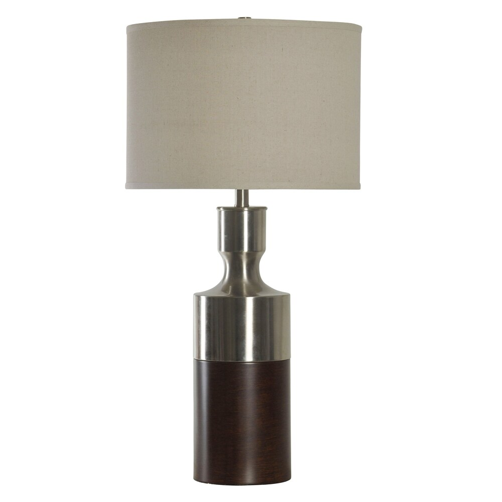 StyleCraft Brushed Steel With Bronze Table Lamp - Beige Hardback Fabric Shade (Brushed Steel With Bronze)