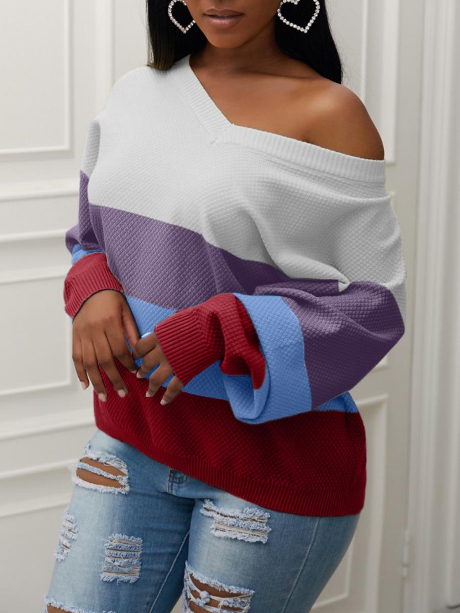LW Lovely Street V Neck Rainbow Striped Purple Sweater
