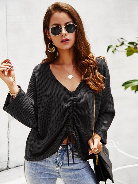 Yoins Black Knit V-neck Long Sleeves Drawstring Design Blouse