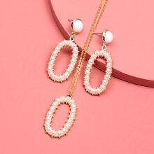 Collar con perla artificial con pendientes